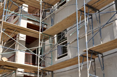 Scaffolding on a new apartment complex