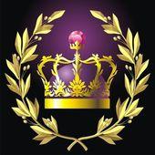 Laurel wreath and crown