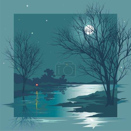 Illustration pour Moonlit nuit d'automne au-dessus de l'eau calme. Ciel étoilé - image libre de droit
