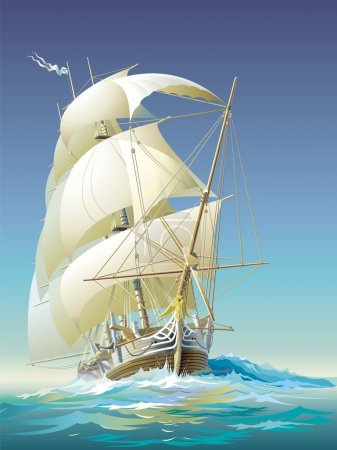 Illustration for Ocean-going ship under sail and fine weather - Royalty Free Image