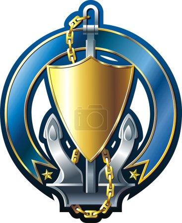 Illustration pour Emblème de style MARINE avec bouclier d'ancrage or et ruban - image libre de droit