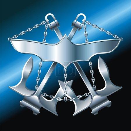 Illustration pour Cuirasse de style MARINE avec des ailes de fer ancres croisées et chaîne - image libre de droit