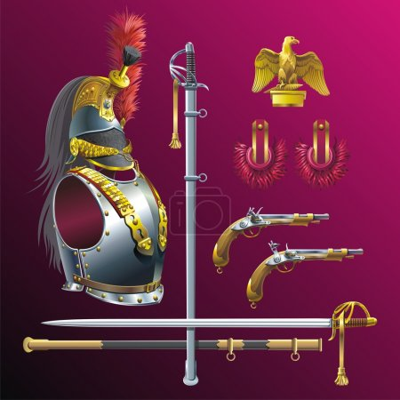 Illustration for Cuirassiers helmet, cuirass, epaulet, pistols and swords. - Royalty Free Image
