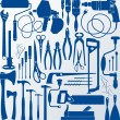 Background with metalwork and joiner tools silhoue...