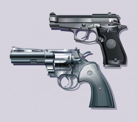 Background with Machine pistol and revolver....