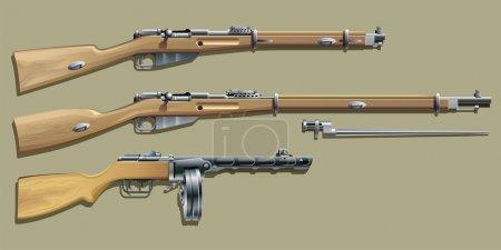 Khaki background with magazine rifle, carbine, mac...