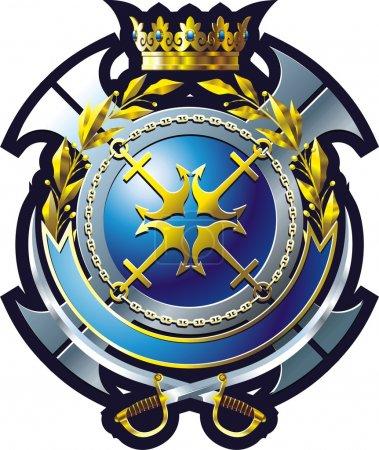 Illustration pour Emblème de style MARINE avec ancre, croix et couronne - image libre de droit