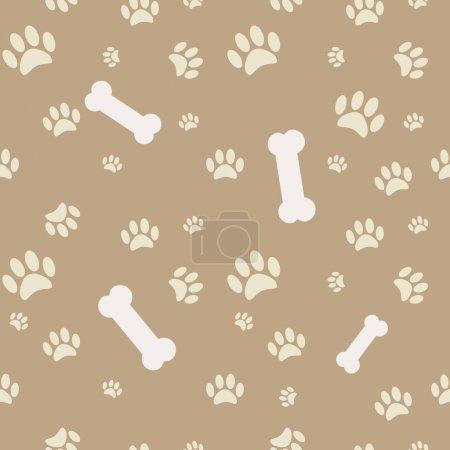 Illustration pour Arrière-plan avec patte de chien imprimé et os en brun - image libre de droit