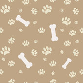 Background with dog paw print and bone in brown