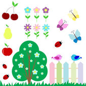 Set of flowers fruits butterflies birds for scrapbook