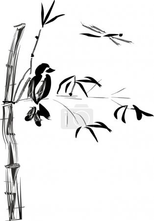 "Illustration for Ink painting ""sumi e"" drawing - Royalty Free Image"