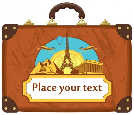 Illustration for Travel suitcase with various tourist attractions - Royalty Free Image