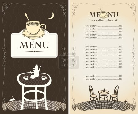 Illustration for Menu for the night cafe with moon and cat - Royalty Free Image