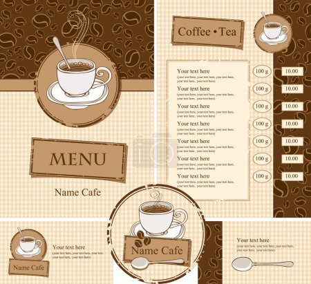 Illustration for Set for the cafe menu, business cards and coasters for drinks - Royalty Free Image