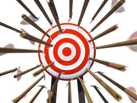 Many arrows flying towards the goal