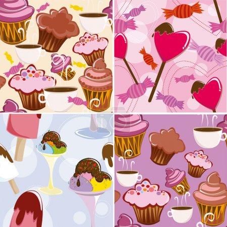 Illustration pour Set de tekstur avec viennoiseries, glaces et bonbons - image libre de droit