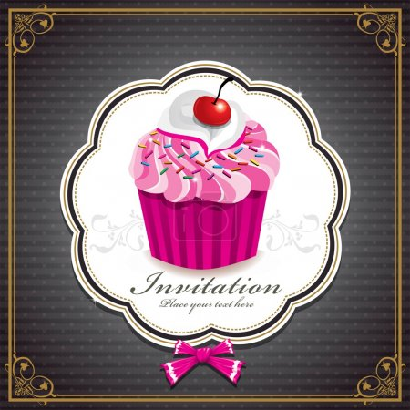 Cute cup cake with vintage design