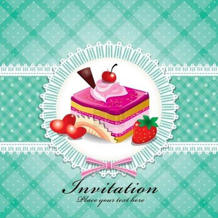 Ilustración de Vintage cupcake lindo diseño - Imagen libre de derechos