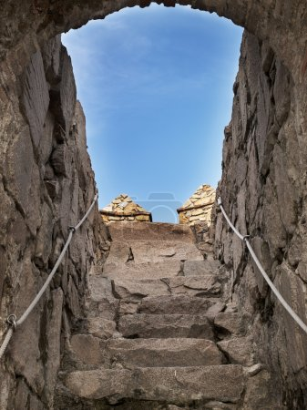Photo for Steps leading directly to the sky. Photographed in Ancient wall of Avila, Spain. - Royalty Free Image
