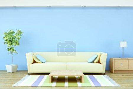 Photo pour Partie d'un intérieur moderne avec canapé, plante, tapis, table basse et lampe de rendu 3d - image libre de droit
