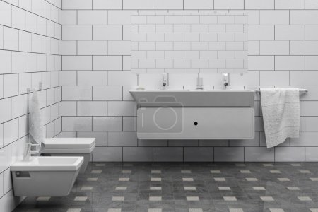Photo for Computer generated cheap, simple bathroom interior - Royalty Free Image