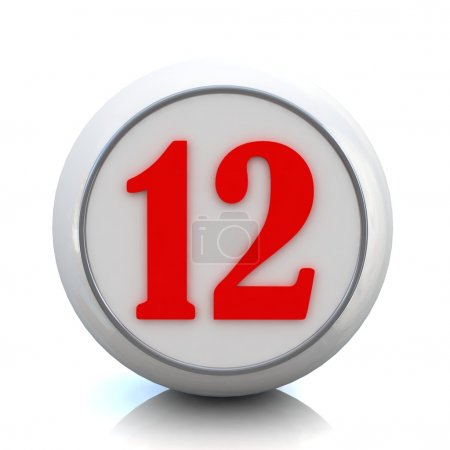 "3d red button with number ""12"""