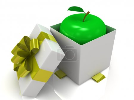 Gift box over white background with apple. 3d illustration.