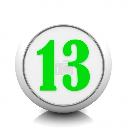 """3d green button with number """"13"""""""
