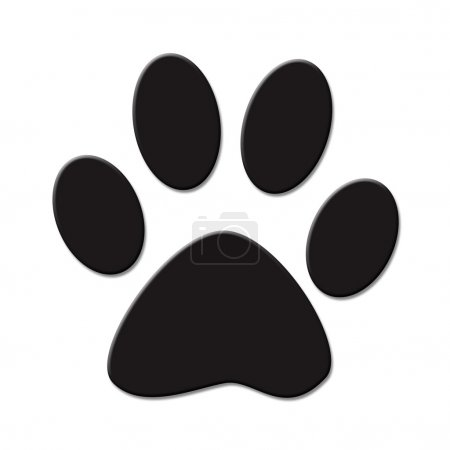 Cute (cat or dog) paw print. Black on white backgr...