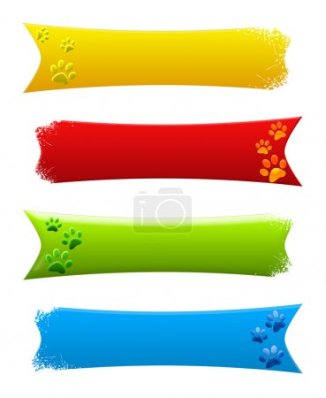 Photo for Colored paw print banners (yellow, red, blue and green) - Royalty Free Image