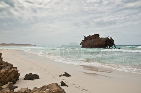 Shipwreck on the coast of Boa Vista in Cape Verde