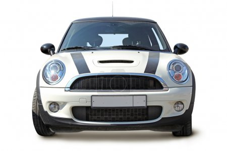Photo for Small stylish car front view on white background - Royalty Free Image