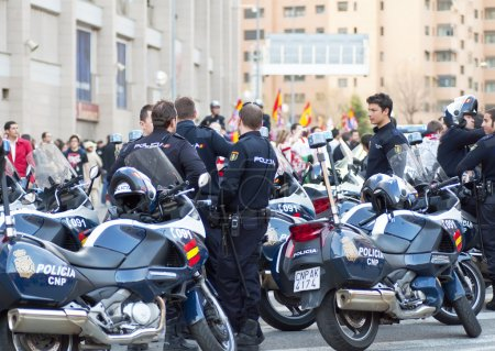 Police in the soccer match at the Vicente Calderon