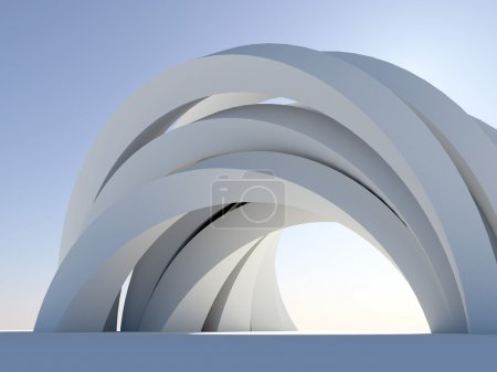 Abstract arch on blue