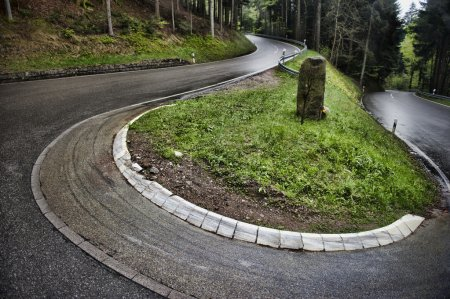 A winding road on a cloudy day in Baden Baden, Ger...