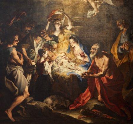 Photo pour Naissance de Jésus - la peinture de l'église de milan - image libre de droit