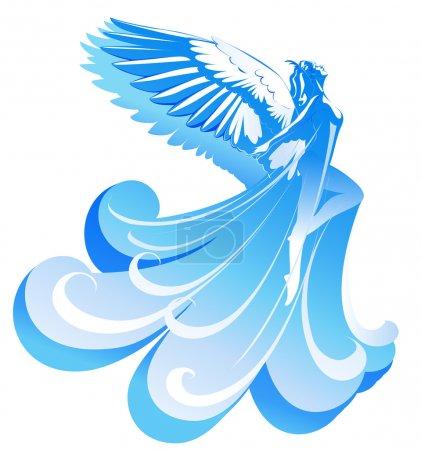 Illustration pour Ange belle femme vole vers le ciel - image libre de droit
