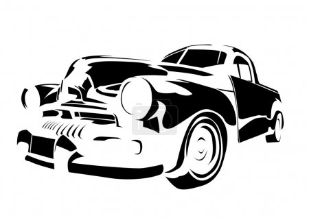 Illustration for Old vintage car isolated on white background - Royalty Free Image