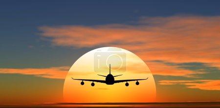 Photo pour Avion volant dans le contexte du coucher du soleil - image libre de droit
