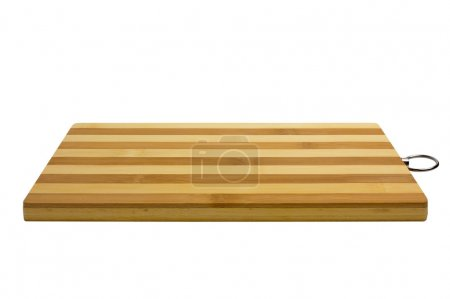 Photo for Bamboo cutting board, striped. Isolated on white background - Royalty Free Image