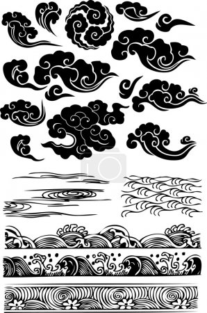 Illustration for Classic cloud sea water splat - Royalty Free Image