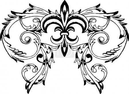 Fleur de lis symbol with scroll background