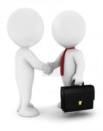 3d white businessmen strike an agreement