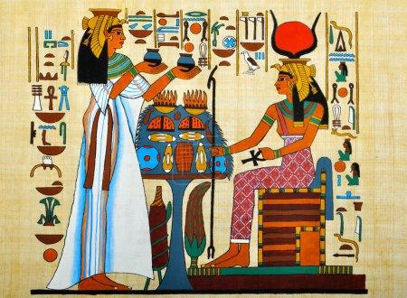 Photo pour Papyrus avec des éléments de l'histoire égyptienne ancienne - image libre de droit