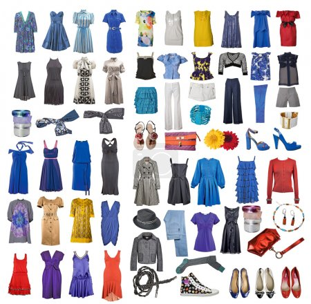 Photo for Collection of icons of different clothes and accessories for the Internet and banners - Royalty Free Image