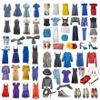 Collection of icons of different clothes and acces...