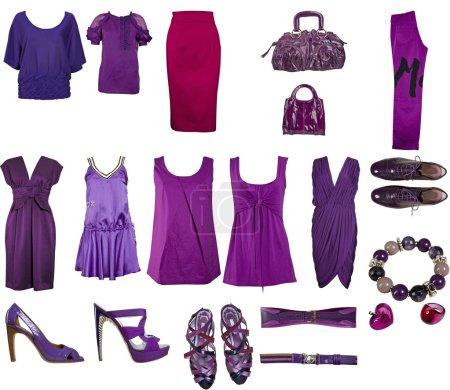 Photo pour Collection de vêtements et accessoires isolés sur fond blanc - image libre de droit