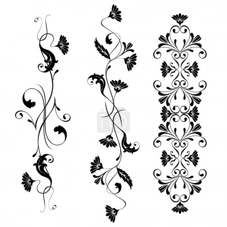 Set pattern flowers and swirling ornaments floral....