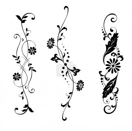 Illustration for Vector swirling decorative floral and plants elements . Black pattern with floral motifs on a white background - Royalty Free Image