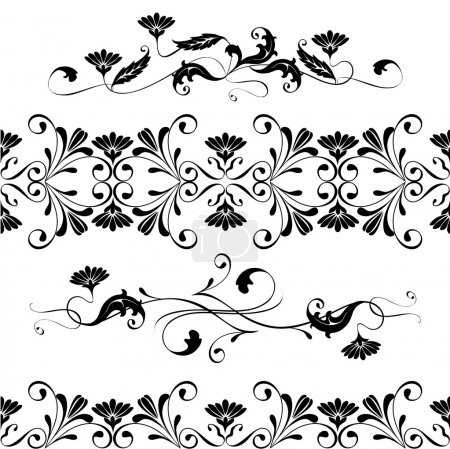 Illustration for Wedding, lace, border seamless pattern with swirling decorative floral elements - Royalty Free Image